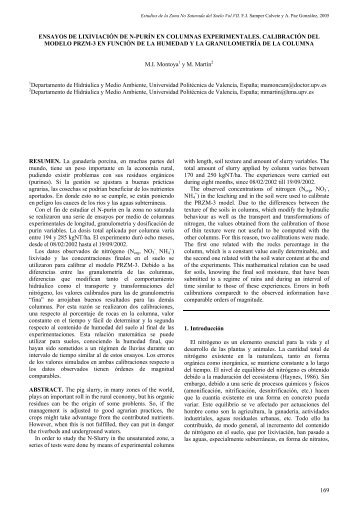 Ensayos de lixiviación de N-purín en columnas experimentales ...