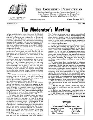 The Concerned Presbyterian, Bulletin No. 9 - PCA Historical Center