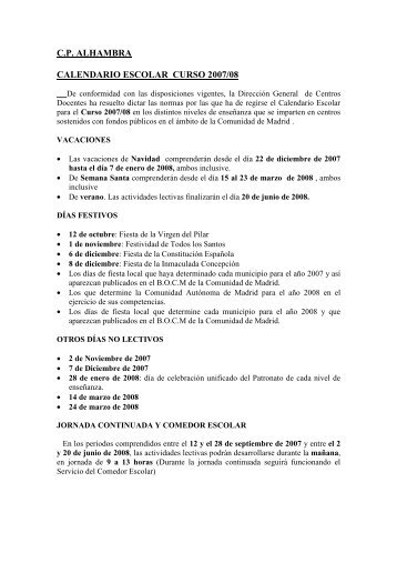 Calendario escolar curso 2007/2008 - AMPA CP Alhambra