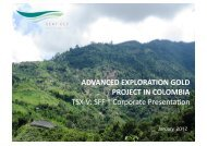 advanced exploration gold project in colombia - TMXmoney