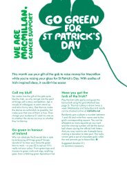St Patrick's Day ideas - Macmillan Cancer Support