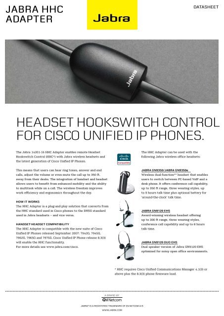 Headset HookswitcH control for cisco Unified iP PHones  - Atis