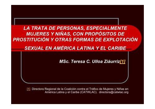 la trata de personas, especialmente mujeres y niñas, con propósitos ...