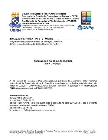 Resultado Final do PIBIC 2012/2013 - UERN