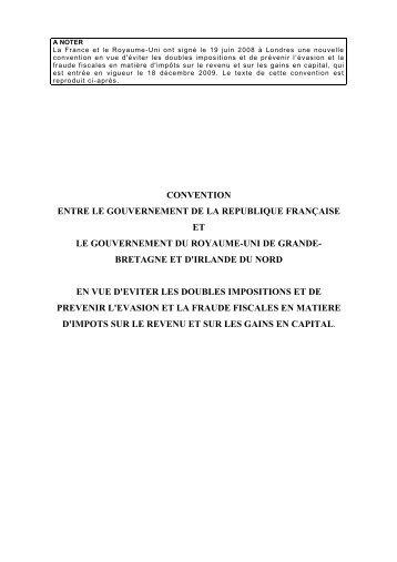 CONVENTION ENTRE LE GOUVERNEMENT DE LA REPUBLIQUE ...
