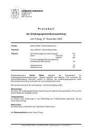 Ortsbürgergemeindeversammlung 27. November 2009