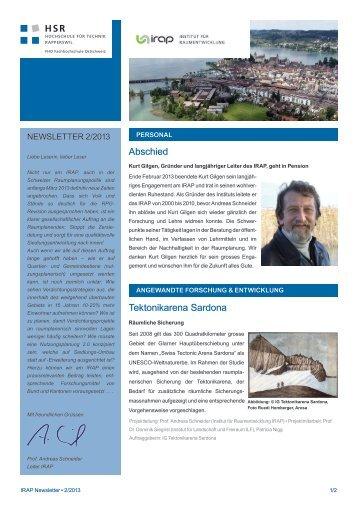 IRAPNewsletter 2013 2 - HSR Hochschule für Technik Rapperswil