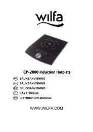 ICP-2000 induction 2000 induction 2000 induction Hotplate ... - Wilfa