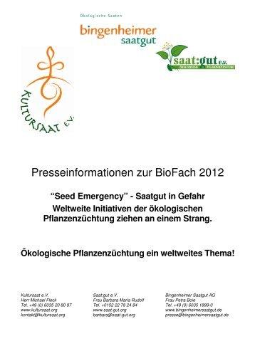 Presseinformationen zur BioFach 2012 - Bingenheimer Saatgut AG