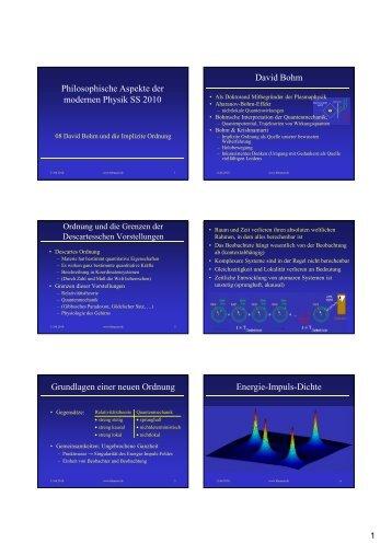 Philosophische Aspekte der modernen Physik SS 2010 David Bohm ...