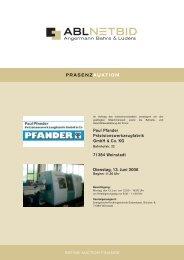 Paul Pfander Präzisionswerkzeugfabrik GmbH & Co. KG ... - NetBid