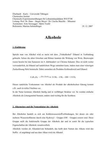 Alkohole - Universität Tübingen