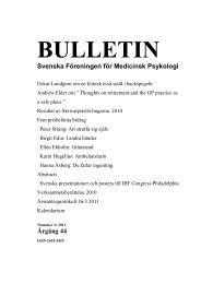Bulletin nr 1, 2011 - Svenska Föreningen för Medicinsk Psykologi