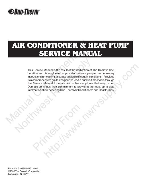10-19-00 Air Conditioner Heat Pump Service Manual on