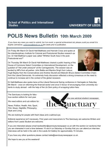 POLIS News Bulletin 10th March 2009 - School of Politics ...