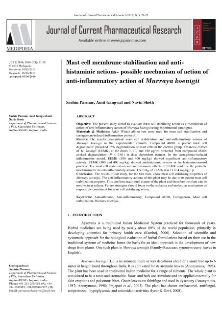 Mast cell membrane stabilization and anti - Journal of