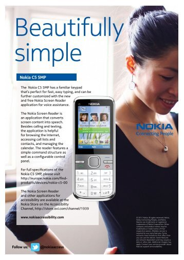 Nokia C5 5MP (this links directly to a - Nokia Accessibility