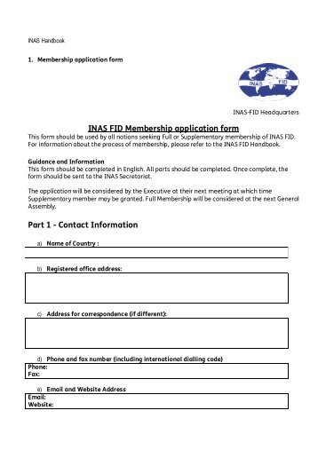 INAS FID Membership application form Part 1 - Contact Information