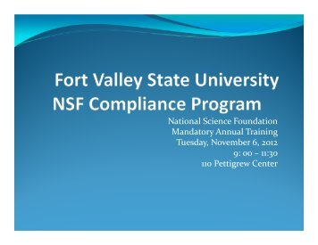 NSF Annual Training Presentation - Fort Valley State University
