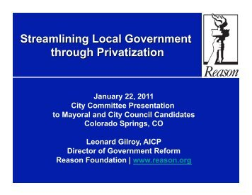 January 22, 2011 City Committee Presentation to Mayoral and City ...