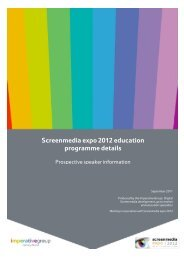 Screenmedia expo 2012 education programme details - screen events