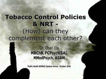 Tobacco Control Policies in Health Facilities and Nicotine ...