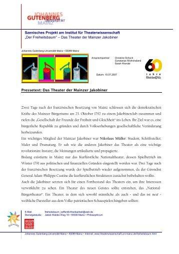 Fachbereich 05 - Institut für Theaterwissenschaft - Johannes ...