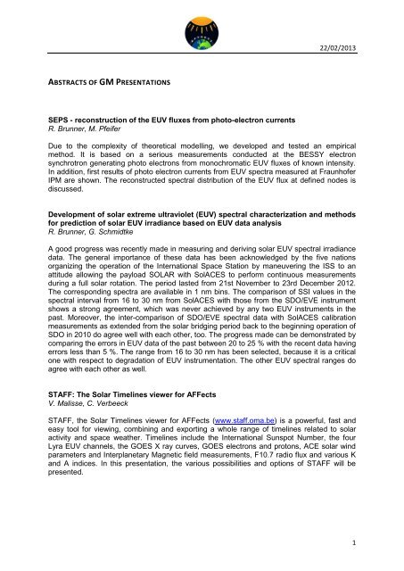 22/02/2013 1 ABSTRACTS OF GM PRESENTATIONS ... - AFFECTS