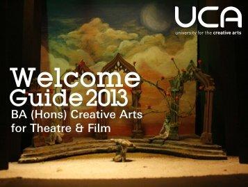 Guide: BA (Hons) Creative Arts for Theatre & Film - UCA Community ...