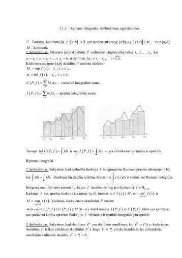 Rymano integralas. Apibrėžimas, egzistavimas.