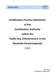Certification Practice Statement of the Certification ... - DFN-PKI
