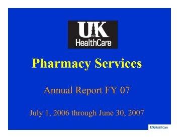 Ph S i Pharmacy Services - University of Kentucky