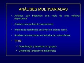Delineamentos Multivariados e Reamostragem - Instituto de ...