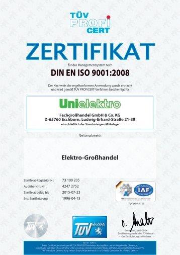 DIN EN ISO 9001:2008 - UNI ELEKTRO