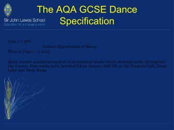 The AQA GCSE Dance Specification