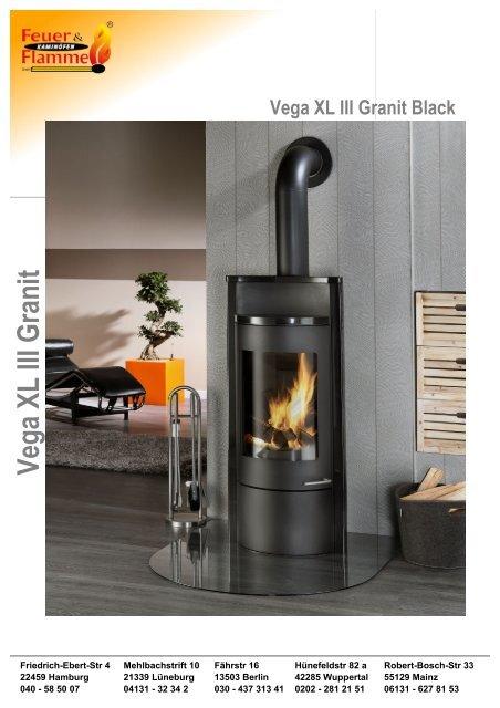 Designer Kaminã¶fen | Vega Xl Iii Granit Black Feuer Flamme Kamina Fen