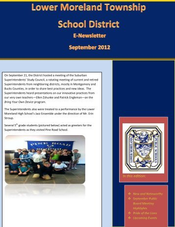September 2012 Newsletter - Lower Moreland Township School ...