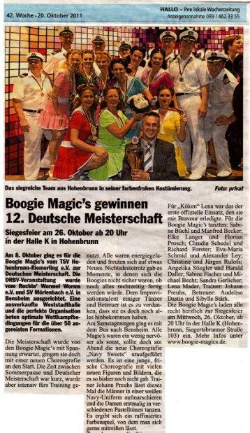 HALLO vom 20.10.2011 - Boogie Magic's Hohenbrunn