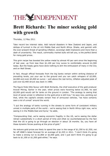 Brett Richards: The miner seeking gold with growth - Avocet Mining ...