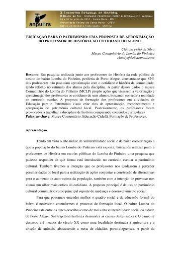 Cláudia Feijó da Silva - X Encontro Estadual de História – ANPUH-RS