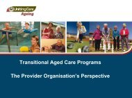 Transitional Aged Care Programs The Provider Organisation's ...