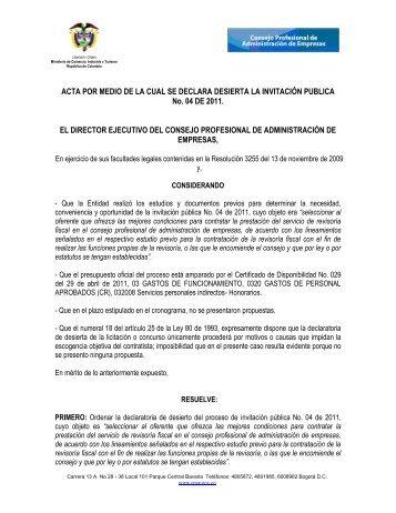 ACTA POR MEDIO DE LA CUAL SE DECLARA DESIERTA LA ...
