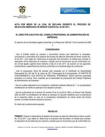 ACTA POR MEDIO DE LA CUAL SE DECLARA DESIERTO EL ...