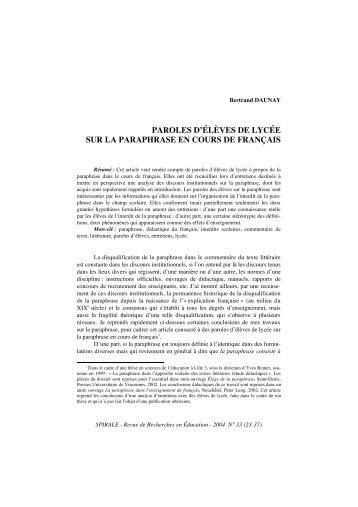 Paroles d'élèves de lycée sur la paraphrase en cours de français