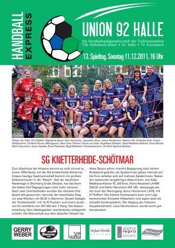 HBExpress SG Knetterheide-Schötmar.indd - HSG Union 92 Halle
