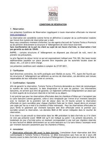 CONDITIONS DE RÉSERVATION 1 - Réservation ... - Turismo Torino
