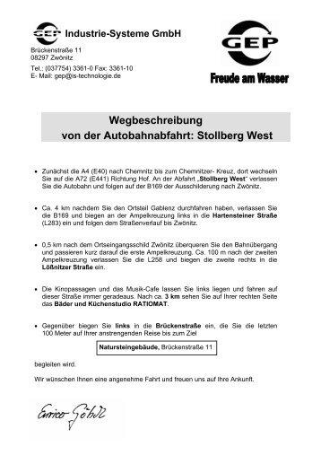 Wegbeschreibung von der Autobahnabfahrt: Stollberg ... - Gep-h2o.de