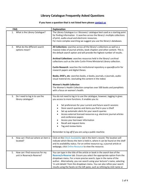 Catalogue FAQs - Curtin University Library