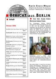 Bericht aus Berlin Oktober 2006 - Karin Evers-Meyer MdB