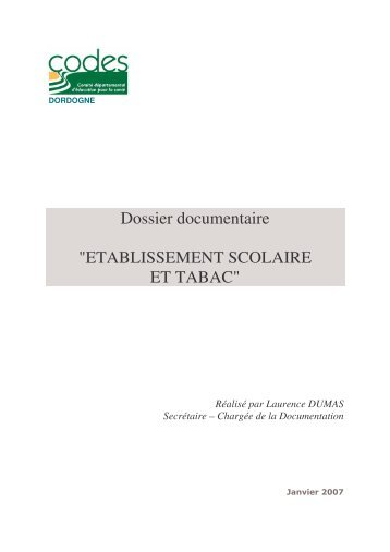 """Dossier documentaire """"ETABLISSEMENT SCOLAIRE ET TABAC"""""""